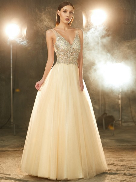 Stylish Ball Gown Sleeveless Beading V-neck Floor-length Tulle Dresses