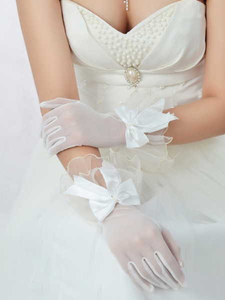 The Most Stylish Best Tulle Bowknot Wedding Gloves