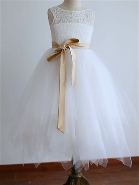 Stylish A-line/Princess Floor-Length Sash/Ribbon/Belt Sleeveless Scoop Tulle Flower Girl Dresses