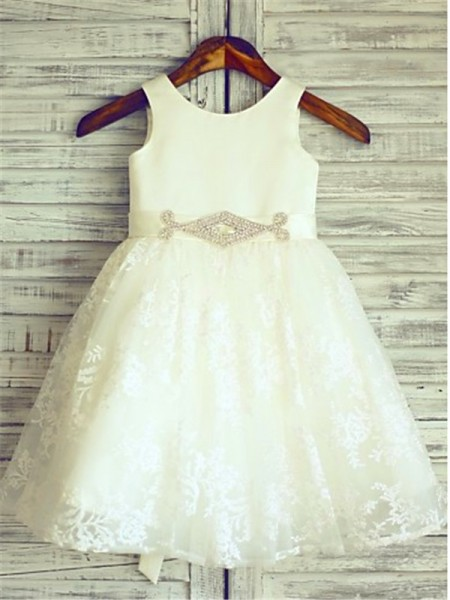 Fashion A-line/Princess Floor-Length Sleeveless Sash/Ribbon/Belt Scoop Lace Flower Girl Dresses