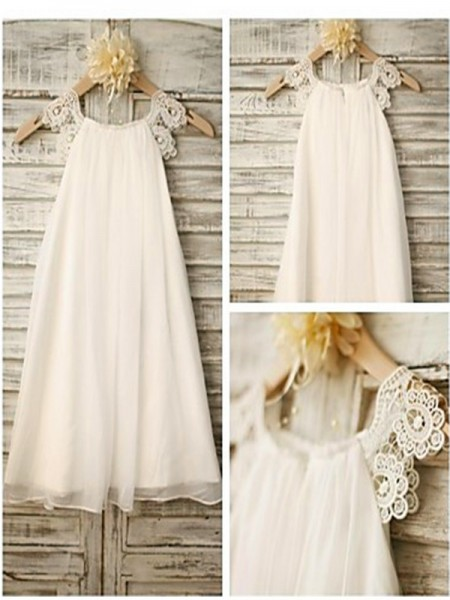 Fashion A-line/Princess Floor-Length Lace Sleeveless Scoop Chiffon Flower Girl Dresses