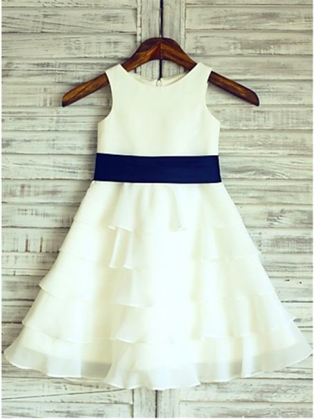 Stylish A-line/Princess Floor-Length Ruffles Scoop Sleeveless Chiffon Flower Girl Dresses