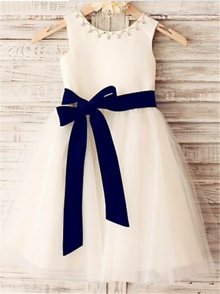 Fashion A-line/Princess Tea-Length Bowknot Sleeveless Scoop Tulle Flower Girl Dresses