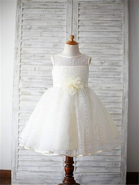 Ball Gown Scoop Sleeveless Hand-made Flower Floor-Length Lace Flower Girl Dresses