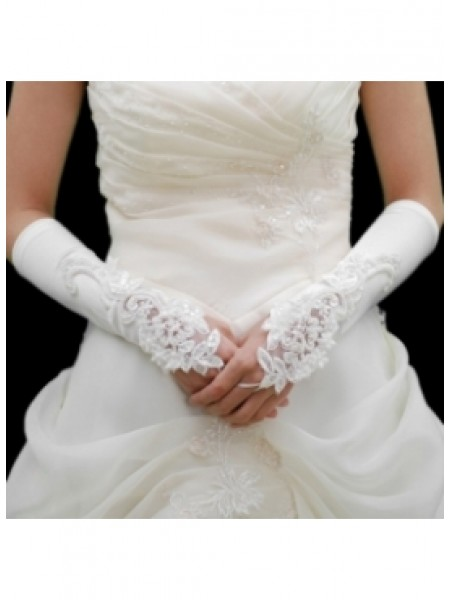 The Most Stylish Elastic Satin Embroidery Beadings Elbow Gloves