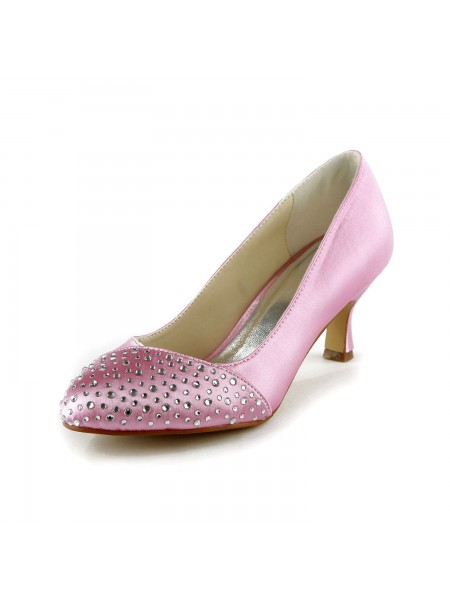 The Most Stylish Women's Satin Stiletto Heel Closed Toe With Rhinestone Pink Wedding Shoes