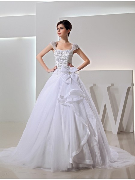 Fashion Beading Ball Gown Embroidery Long Organza Bowknot Wedding Dresses