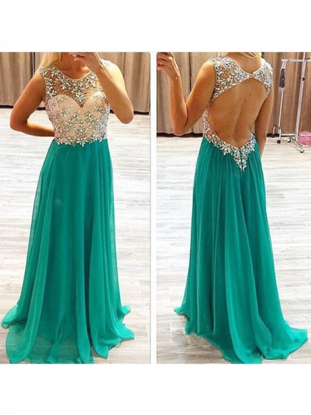 Stylish A-Line/Princess Beading Chiffon Sleeveless Sweep/Brush Train Dresses