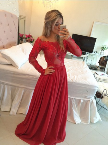 Stylish A-Line/Princess Chiffon Sweep/Brush Off-the-Shoulder Train Applique Dresses