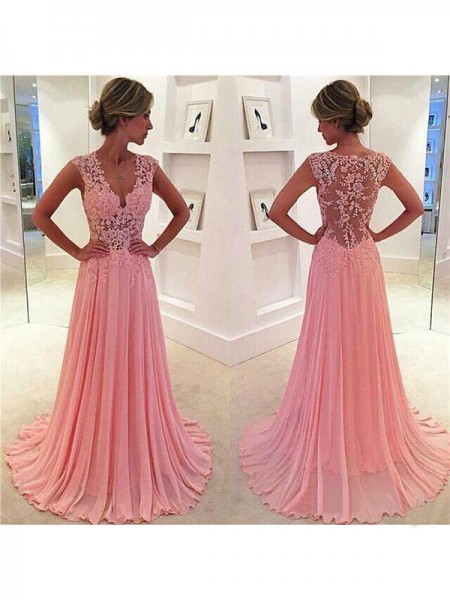 Fashion A-Line/Princess Chiffon Lace Sleeveless V-neck Sweep/Brush Train Dresses