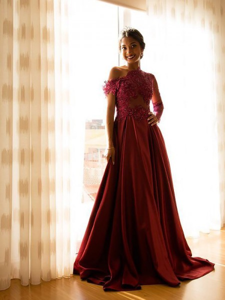 A-Line/Princess Sleeveless Off-the-Shoulder Satin Applique Floor-Length Dresses