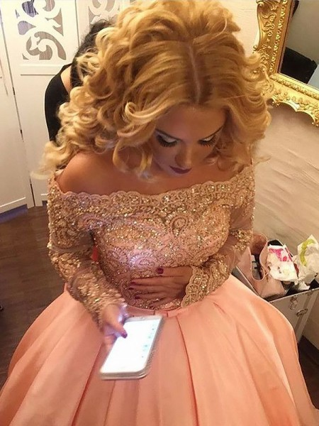 Ball Gown Long Sleeves Off-the-Shoulder Beading Satin Court Train Dresses