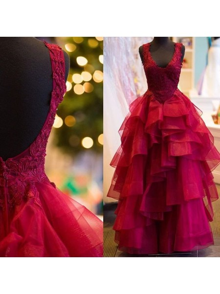 Stylish Ball Gown Applique V-Neck Sleeveless Floor-Length Tulle Dresses
