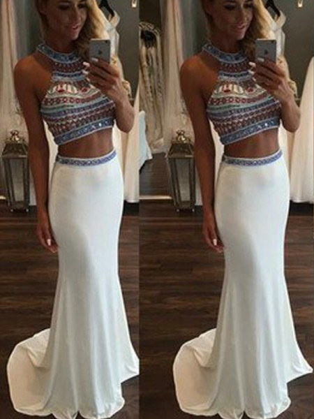 Stylish Trumpet/Mermaid Halter Beading Sleeveless Sweep/Brush Train Chiffon Two Piece Dresses