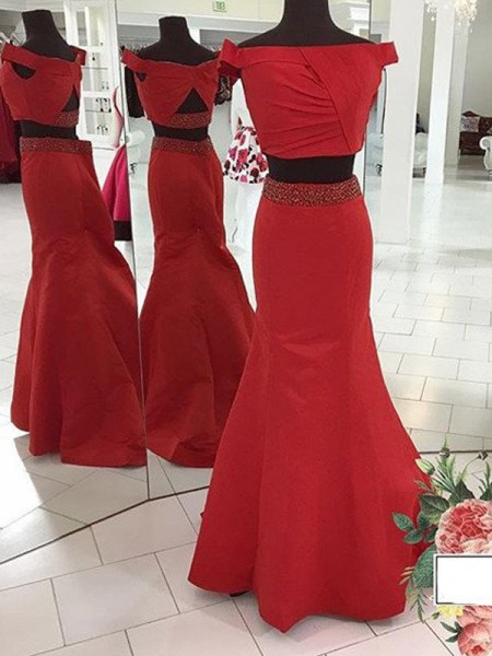 Stylish Trumpet/Mermaid Off-the-Shoulder Sweep/Brush Sleeveless Train Ruched Satin Two Piece Dresses