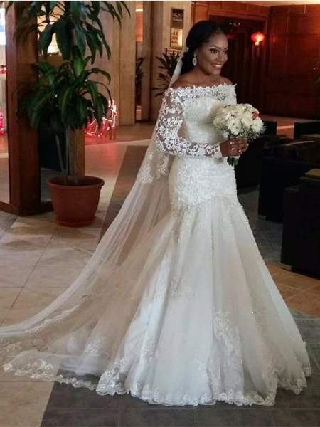 Stylish Trumpet/Mermaid Long Sleeves Lace Off-the-Shoulder Floor-Length Tulle Wedding Dresses