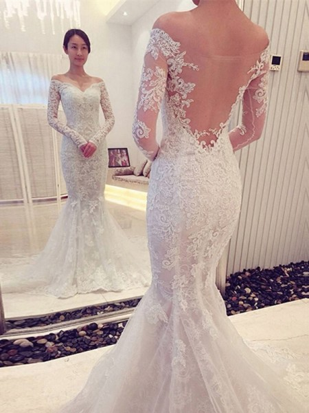 Fashion Trumpet/Mermaid Long Sleeves Lace Off-the-Shoulder Sweep/Brush Train Wedding Dresses