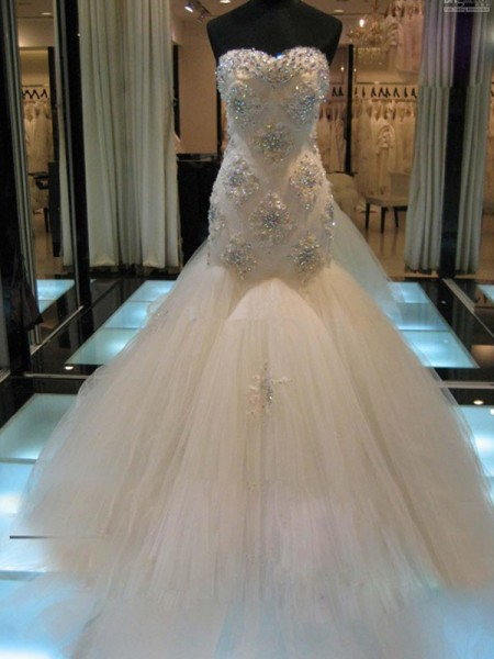Fashion Trumpet/Mermaid Sweetheart Court Sleeveless Train Beading Tulle Wedding Dresses