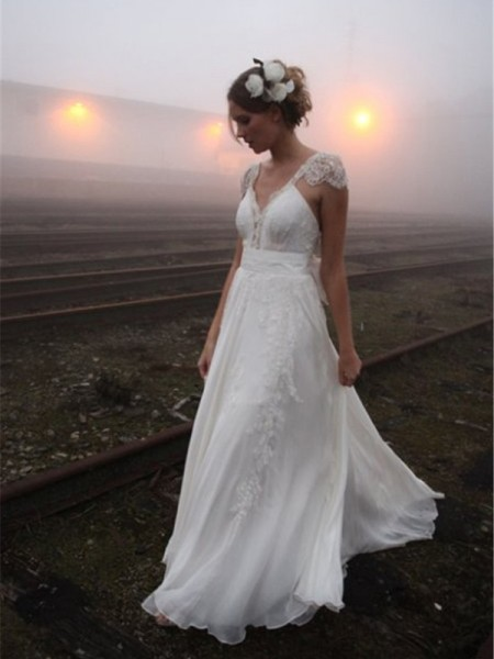 Stylish A-Line/Princess Floor-Length Sleeveless V-neck Lace Chiffon Wedding Dresses