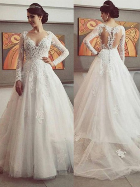 Stylish Ball Gown Long Sleeves Lace V-neck Court Train Tulle Wedding Dresses