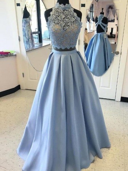 Stylish Ball Gown Sleeveless Floor-Length High Neck Applique Satin Two Piece Dresses