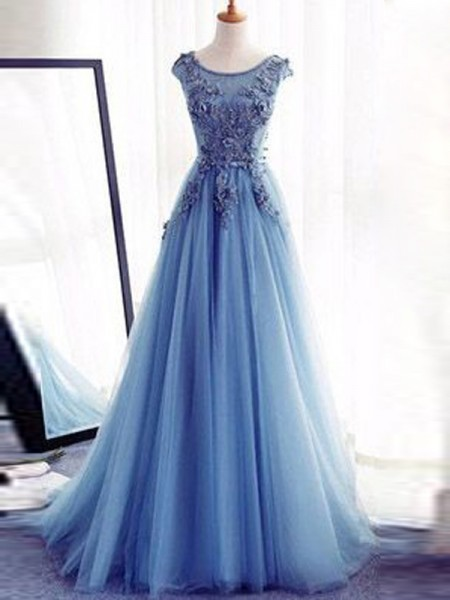 Stylish Ball Gown Jewel Floor-Length Sleeveless Applique Tulle Dresses