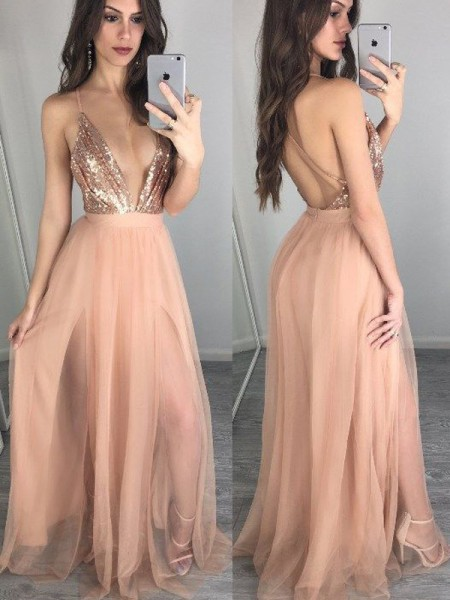 Fashion A-Line/Princess Spaghetti Straps Sleeveless Chiffon Floor-Length Sequin Dresses