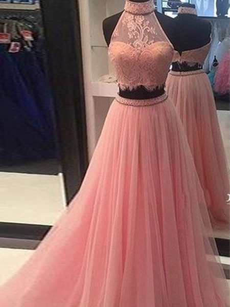 Stylish A-Line/Princess High Neck Tulle Sleeveless Lace Floor-Length Two Piece Dresses