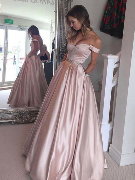 Stylish A-Line/Princess Sleeveless Floor-Length Off-the-Shoulder Train Satin Dresses