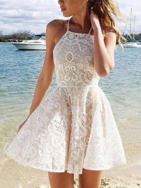Fashion A-Line/Princess Halter Lace Sleeveless Spandax Short/Mini Dresses