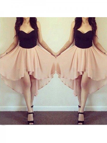 Fashion A-Line/Princess Sweetheart Chiffon Sleeveless Short/Mini Dresses