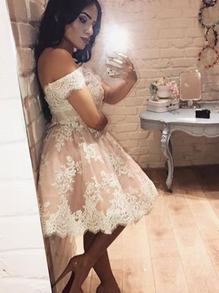 Stylish A-Line/Princess Off-the-Shoulder Lace Sleeveless Short/Mini Dresses