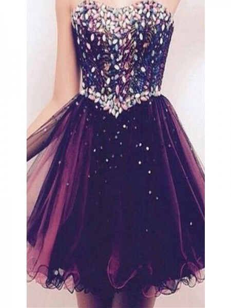 Stylish A-Line/Princess Sweetheart Rhinestone Sleeveless Tulle Short/Mini Dresses