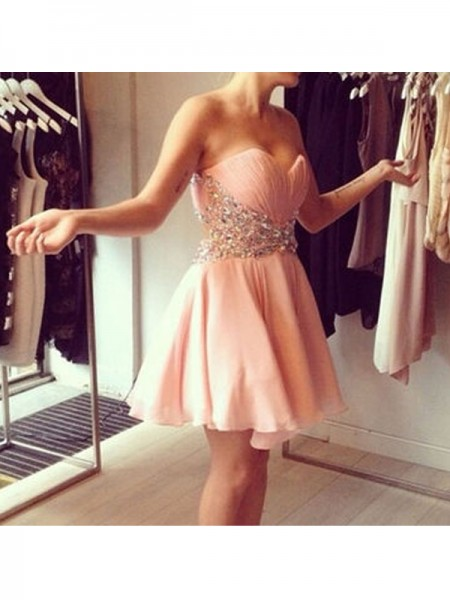 Stylish A-Line/Princess Sweetheart Beading Sleeveless Chiffon Short/Mini Dresses