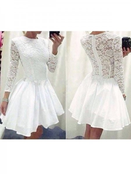 Stylish A-Line/Princess Scoop Lace Long Sleeves Chiffon Short/Mini Dresses