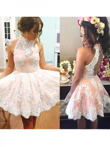 Fashion A-Line/Princess High Neck Lace Sleeveless Short/Mini Dresses