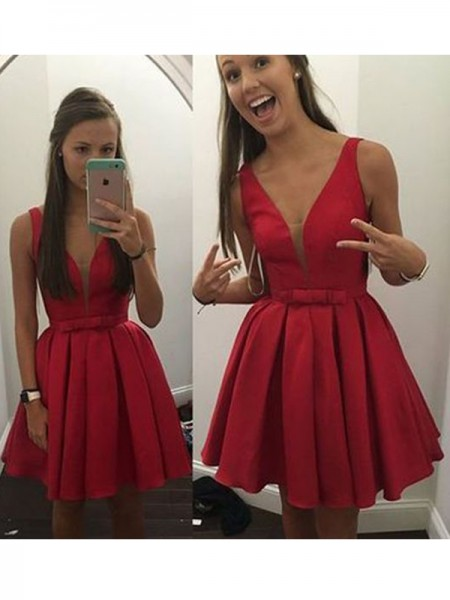 Fashion A-Line/Princess V-neck Bowknot Sleeveless Satin Short/Mini Dresses