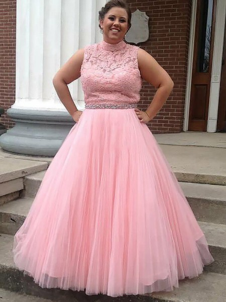 Fashion Ball Gown Tulle Applique High Neck Sleeveless Floor-Length Plus Size Dresses