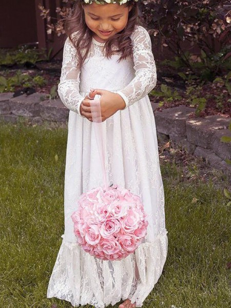 Fashion A-Line/Princess Lace Bowknot Jewel Long Sleeves Floor-Length Flower Girl Dresses