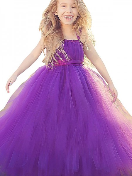 Stylish Ball Gown Floor-Length Bowknot Sleeveless Straps Tulle Flower Girl Dresses