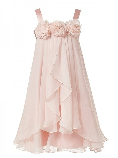Stylish A-Line/Princess Flower Hand-Made Straps Sleeveless Chiffon Floor-Length Flower Girl Dresses