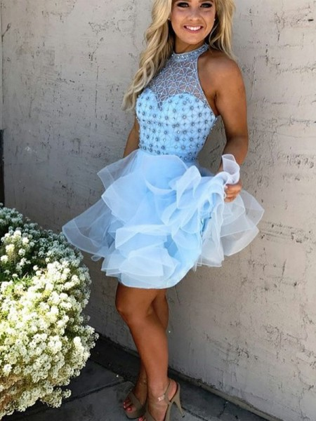 Stylish A-Line/Princess Short/Mini Beading Sleeveless High Neck Tulle Dresses