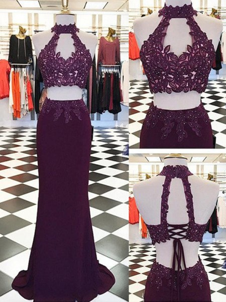 Fashion Sheath/Column Applique Floor-Length Halter Sleeveless Chiffon Two Piece Dresses