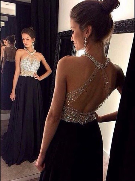 Fashion A-Line/Princess Halter Beading Sleeveless Chiffon Sweep/Brush Train Dresses