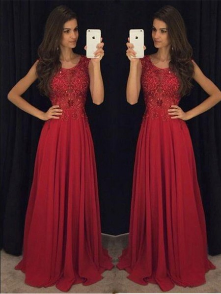 Stylish A-Line/Princess Scoop Chiffon Sleeveless Beading Floor-Length Dresses