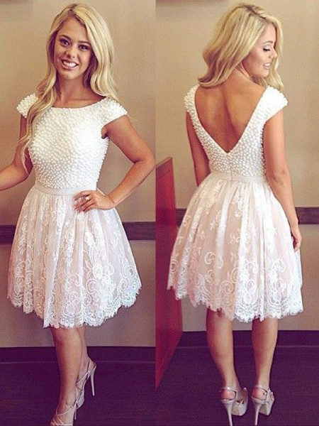 Stylish A-Line/Princess Short Sleeves Pearls Scoop Lace Short/Mini Dresses