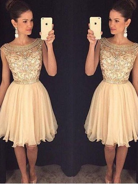 Stylish A-Line/Princess Sleeveless Short/Mini Scoop Beading Chiffon Dresses