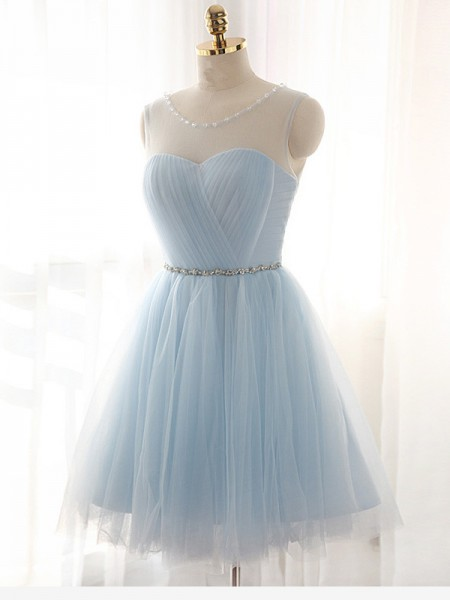 Fashion A-Line/Princess Beading Sleeveless Scoop Short/Mini Tulle Dresses
