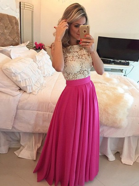 Fashion A-Line/Princess Sleeveless Lace Scoop Floor-Length Chiffon Dresses