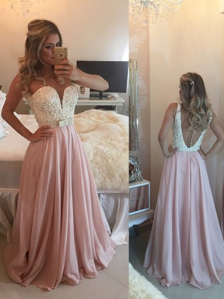 Fashion A-Line/Princess Sleeveless Pearls Sweetheart Floor-Length Chiffon Dresses